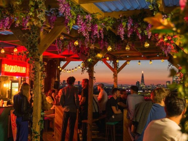 Rooftop Pub - Bussey Rooftop Bar Offers A Nice View of The City With Flora Design