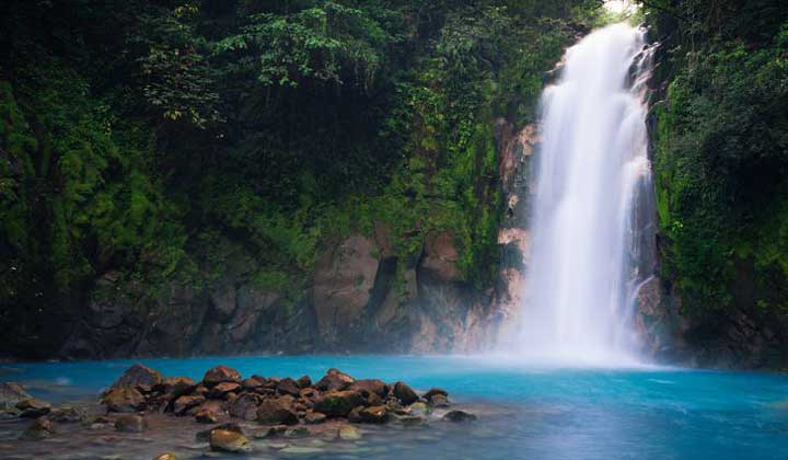 Celeste River is part of the Tenorio Volcano National Park in Costa Rica