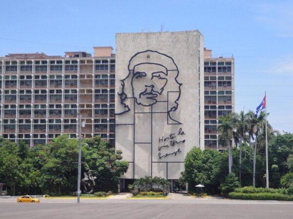 Cuba Tourist Attractions - Plaza de la Revolucion in Havana Has The Che Guevara's Large And Famous Portrait