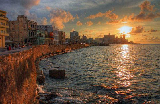 Cuba Attractions - The Malecon Has A Beach Road Streches From Habana Vieja to Vedado