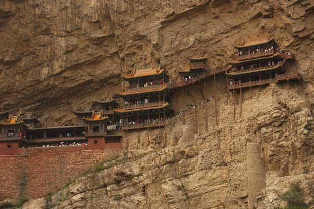 Tourist Attraction - Hanging Temple Known As Hengshan With Narrow Bridges