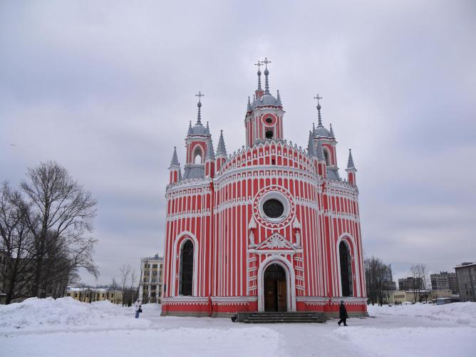 Attractions in Russia - Chesme Church Built By Yury Felton in Gothic Style
