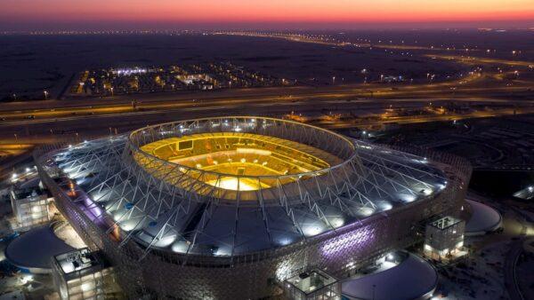 Qatar World Cup Stadiums - Al Rayyan Stadium Displays Information on its Outside Screen