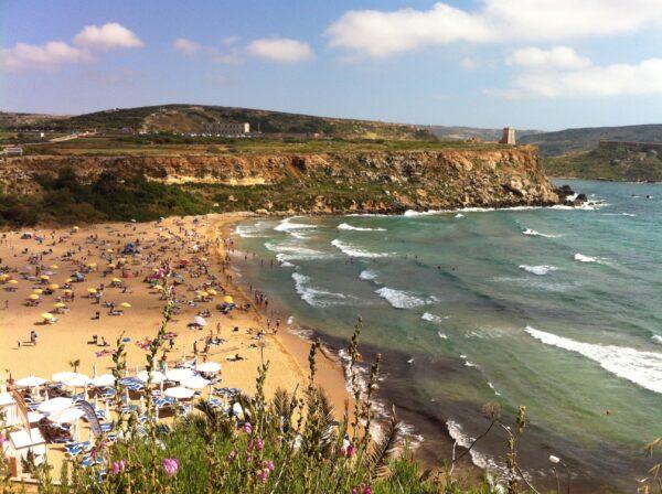Malta Beaches Travel Guide - Golden Bay Malta Offers Sun Beds And Large Umbrellas